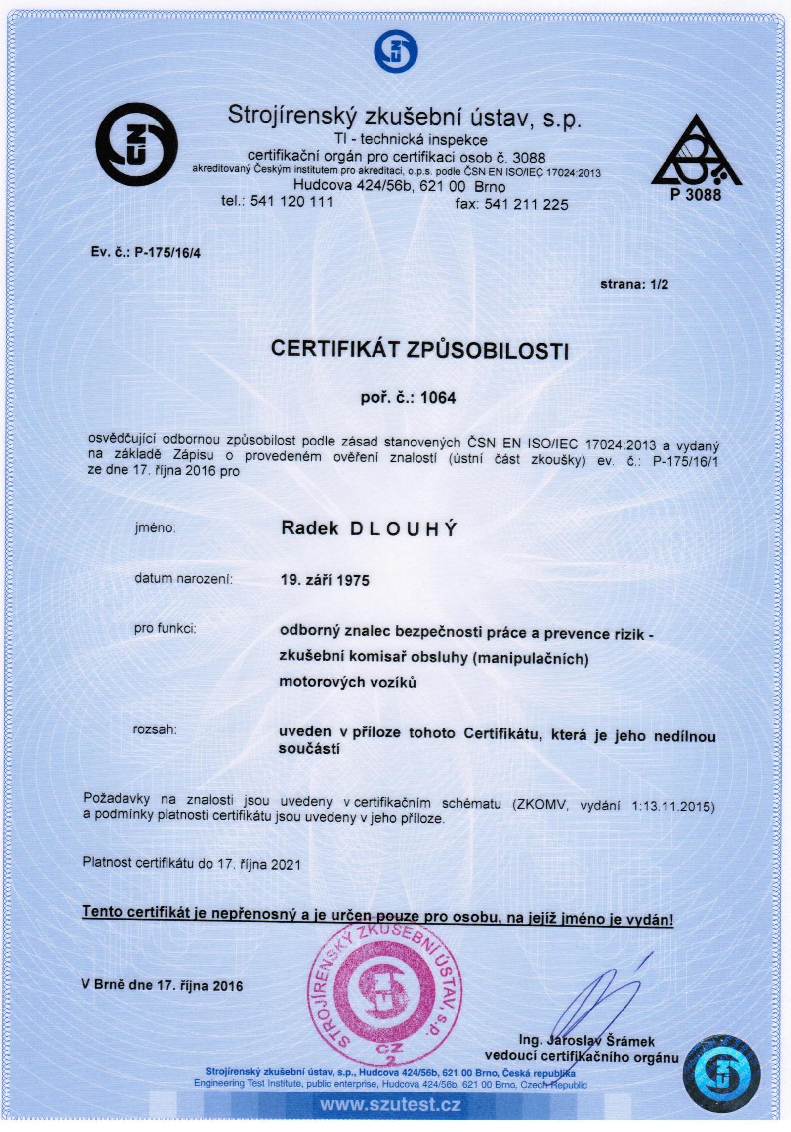 Certifikát komisaře