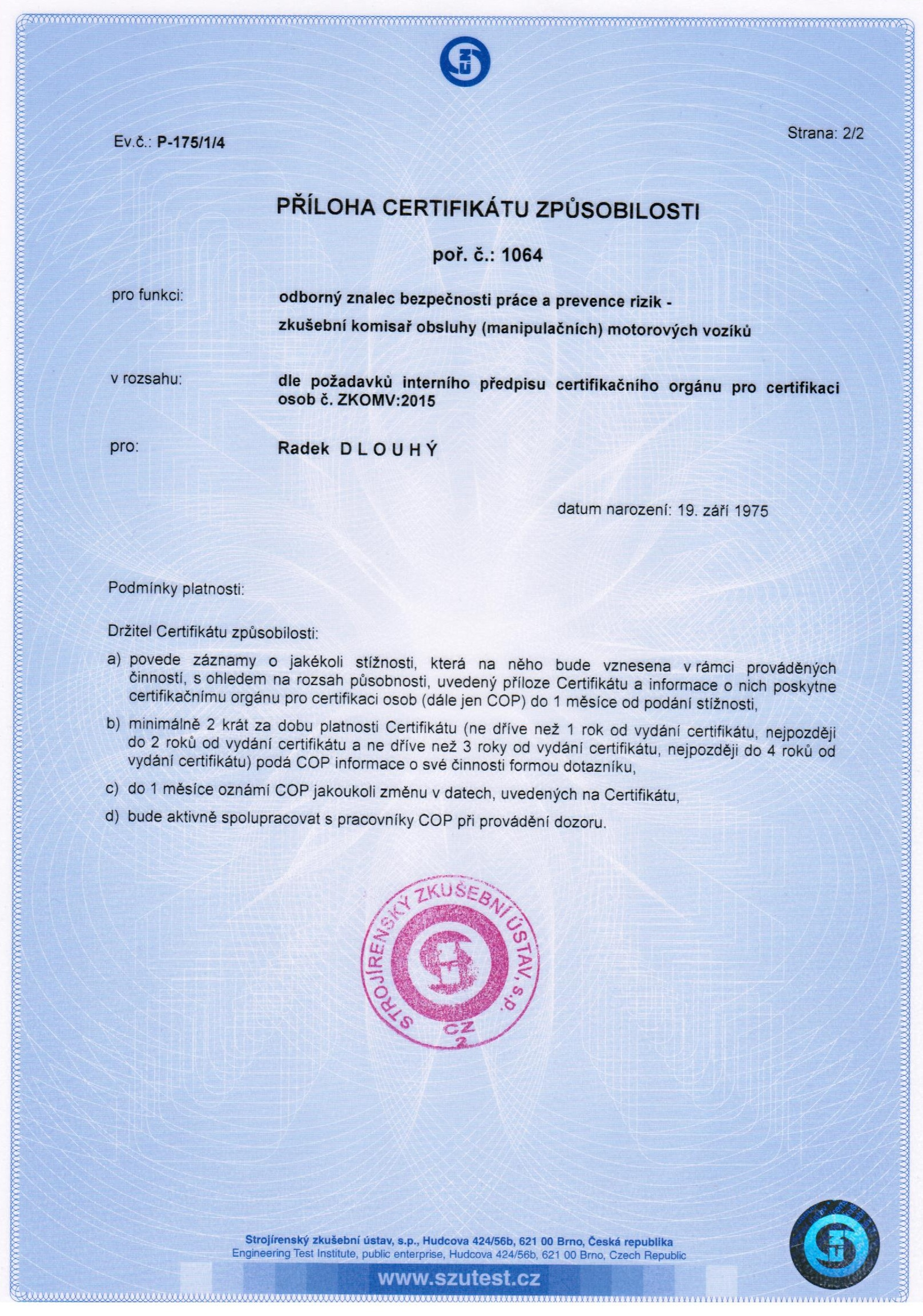 příloha k certifikátu komisaře